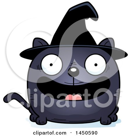 Clipart Graphic of a Cartoon Smiling Witch Cat Character Mascot - Royalty Free Vector Illustration by Cory Thoman