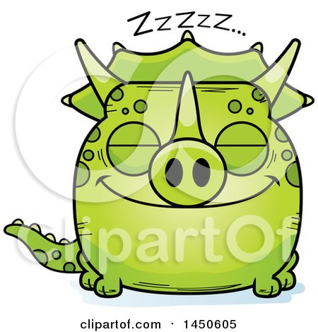 Clipart Graphic of a Cartoon Sleeping Triceratops Character Mascot - Royalty Free Vector Illustration by Cory Thoman