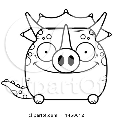Clipart Graphic of a Cartoon Black and White Lineart Happy Triceratops Character Mascot - Royalty Free Vector Illustration by Cory Thoman