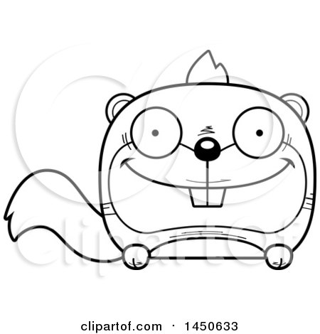 Clipart Graphic of a Cartoon Black and White Lineart Happy Squirrel Character Mascot - Royalty Free Vector Illustration by Cory Thoman