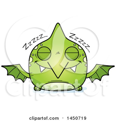 Clipart Graphic of a Cartoon Sleeping Pterodactyl Character Mascot - Royalty Free Vector Illustration by Cory Thoman