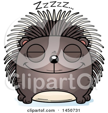 Clipart Graphic of a Cartoon Sleeping Porcupine Character Mascot - Royalty Free Vector Illustration by Cory Thoman