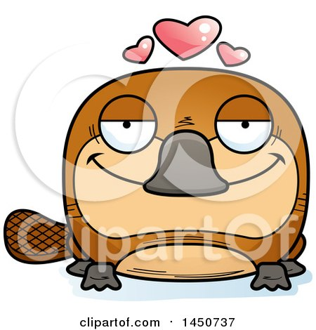 Clipart Graphic of a Cartoon Loving Platypus Character Mascot - Royalty Free Vector Illustration by Cory Thoman