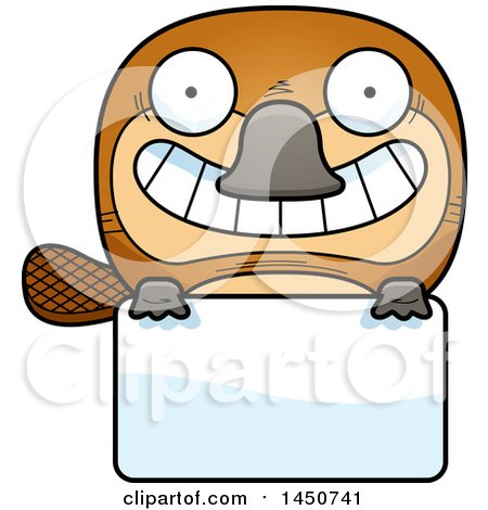 Clipart Graphic of a Cartoon Platypus Character Mascot over a Blank Sign - Royalty Free Vector Illustration by Cory Thoman