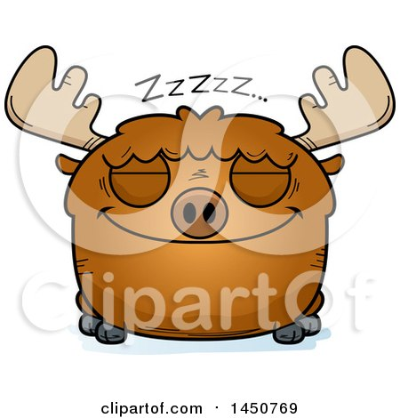 Clipart Graphic of a Cartoon Sleeping Moose Character Mascot - Royalty Free Vector Illustration by Cory Thoman