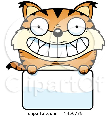 Clipart Graphic of a Cartoon Lynx Character Mascot over a Blank Sign - Royalty Free Vector Illustration by Cory Thoman