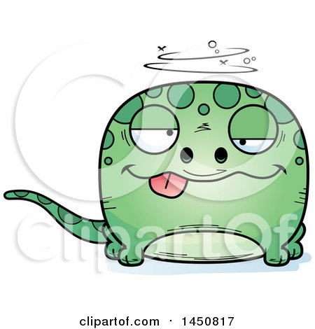 Clipart Graphic of a Cartoon Drunk Gecko Character Mascot - Royalty Free Vector Illustration by Cory Thoman