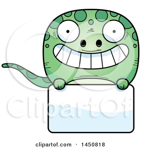 Clipart Graphic of a Cartoon Gecko Character Mascot over a Blank Sign - Royalty Free Vector Illustration by Cory Thoman