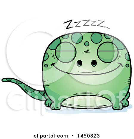 Clipart Graphic of a Cartoon Sleeping Gecko Character Mascot - Royalty Free Vector Illustration by Cory Thoman