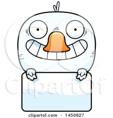Clipart Graphic of a Cartoon Duck Character Mascot over a Blank Sign - Royalty Free Vector Illustration by Cory Thoman