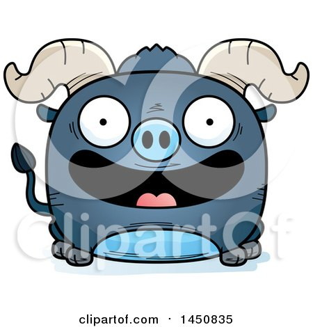 Clipart Graphic of a Cartoon Smiling Blue Ox Character Mascot - Royalty Free Vector Illustration by Cory Thoman