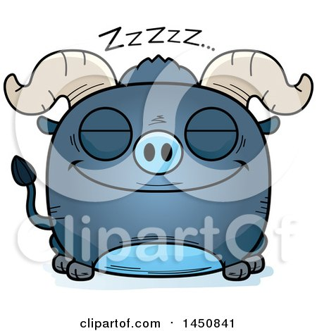 Clipart Graphic of a Cartoon Sleeping Blue Ox Character Mascot - Royalty Free Vector Illustration by Cory Thoman