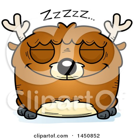 Clipart Graphic of a Cartoon Sleeping Deer Character Mascot - Royalty Free Vector Illustration by Cory Thoman