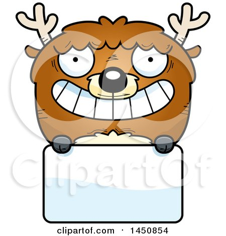 Clipart Graphic of a Cartoon Deer Character Mascot over a Blank Sign - Royalty Free Vector Illustration by Cory Thoman