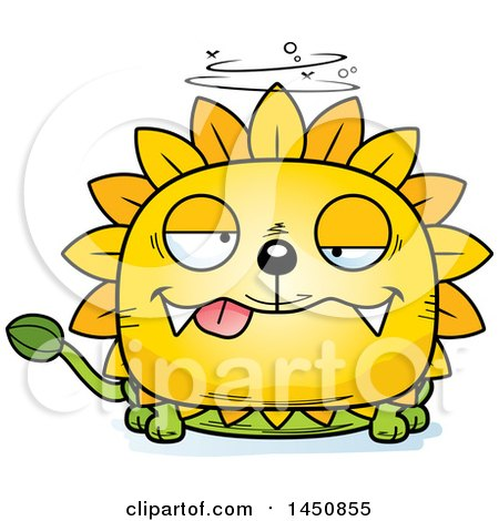 Clipart Graphic of a Cartoon Drunk Dandelion Character Mascot - Royalty Free Vector Illustration by Cory Thoman
