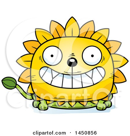 Clipart Graphic of a Cartoon Grinning Dandelion Character Mascot - Royalty Free Vector Illustration by Cory Thoman