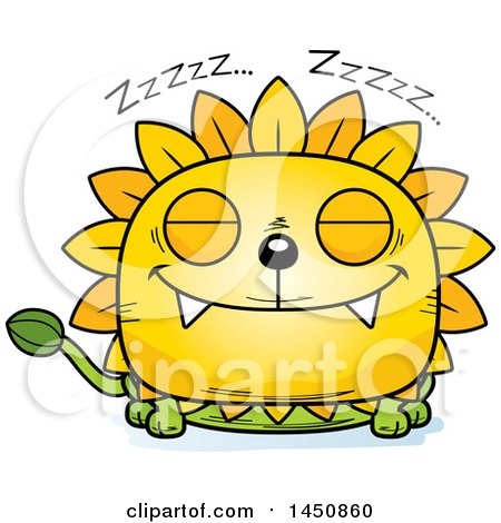 Clipart Graphic of a Cartoon Sleeping Dandelion Character Mascot - Royalty Free Vector Illustration by Cory Thoman