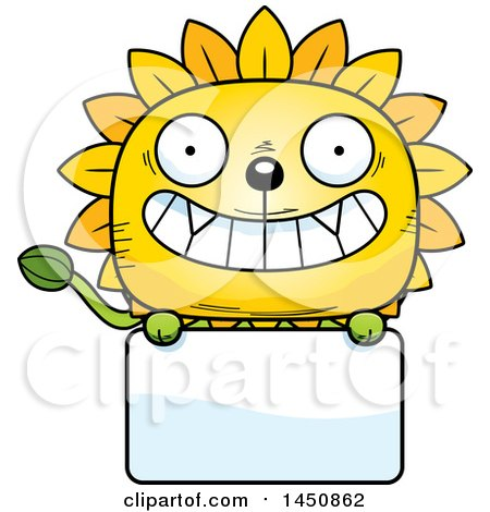 Clipart Graphic of a Cartoon Dandelion Character Mascot over a Blank Sign - Royalty Free Vector Illustration by Cory Thoman