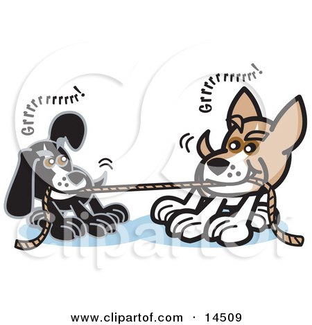 Two Dogs Growling While Playing Tug of War With a Rope Clipart Illustration by Andy Nortnik