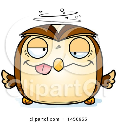Clipart Graphic of a Cartoon Drunk Owl Character Mascot - Royalty Free Vector Illustration by Cory Thoman