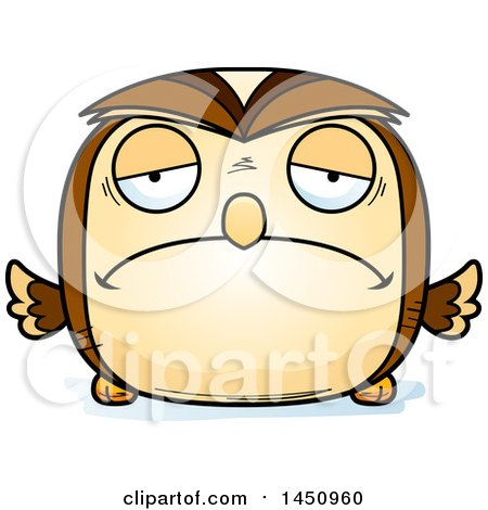Clipart Graphic of a Cartoon Sad Owl Character Mascot - Royalty Free Vector Illustration by Cory Thoman