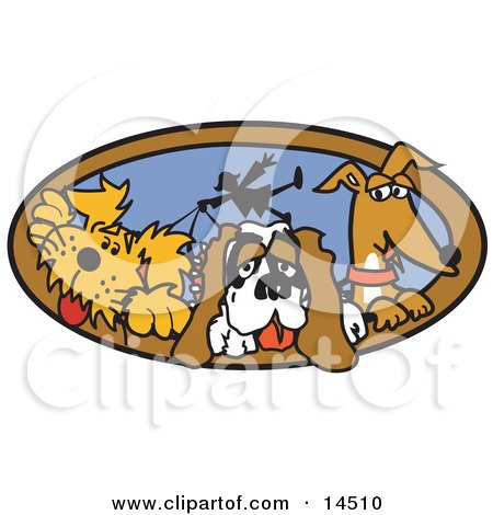 Three Dogs Taking Their Dog Walker for a Walk Clipart Illustration by Andy Nortnik