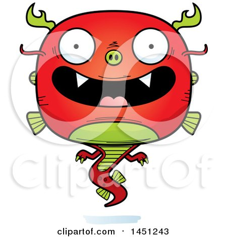 Clipart Graphic of a Cartoon Happy Chinese Dragon Character Mascot - Royalty Free Vector Illustration by Cory Thoman