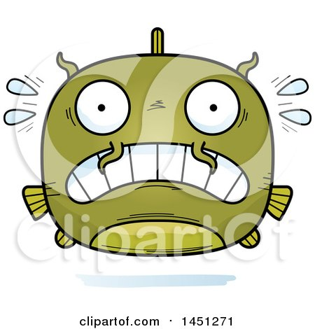 Clipart Graphic of a Cartoon Scared Catfish Character Mascot - Royalty Free Vector Illustration by Cory Thoman