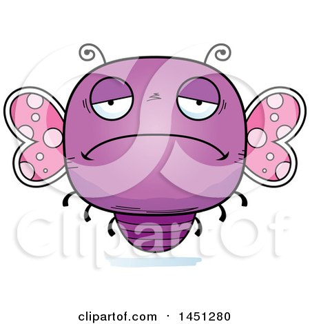 Clipart Graphic of a Cartoon Sad Butterfly Character Mascot - Royalty Free Vector Illustration by Cory Thoman