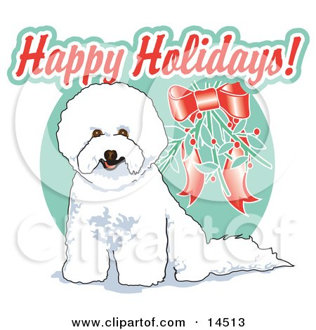 Cute White Bichon Frise Dog Sitting Under Mistletoe Clipart Illustration by Andy Nortnik