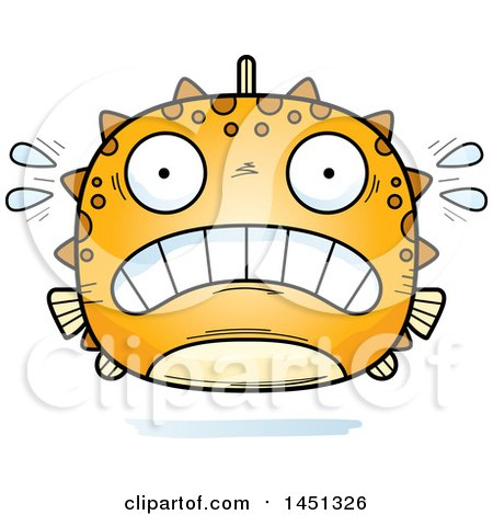 Clipart Graphic of a Cartoon Scared Blowfish Character Mascot - Royalty Free Vector Illustration by Cory Thoman