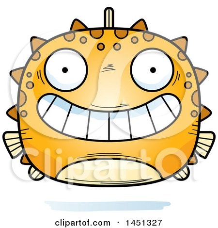 Clipart Graphic of a Cartoon Grinning Blowfish Character Mascot - Royalty Free Vector Illustration by Cory Thoman
