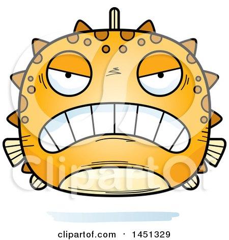 Clipart Graphic of a Cartoon Mad Blowfish Character Mascot - Royalty Free Vector Illustration by Cory Thoman