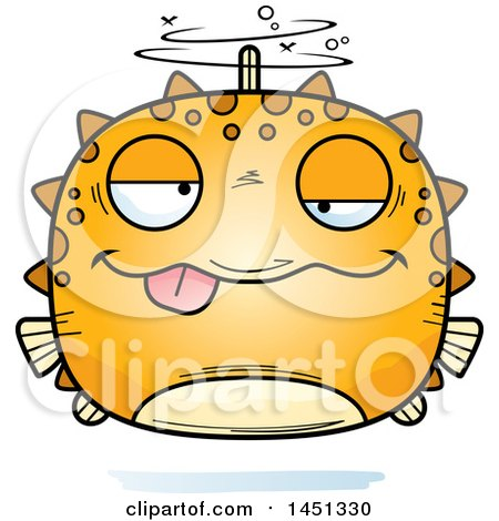 Clipart Graphic of a Cartoon Drunk Blowfish Character Mascot - Royalty Free Vector Illustration by Cory Thoman