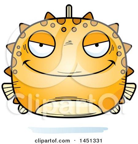 Clipart Graphic of a Cartoon Evil Blowfish Character Mascot - Royalty Free Vector Illustration by Cory Thoman