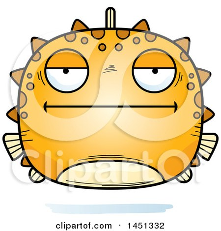 Clipart Graphic of a Cartoon Bored Blowfish Character Mascot - Royalty Free Vector Illustration by Cory Thoman