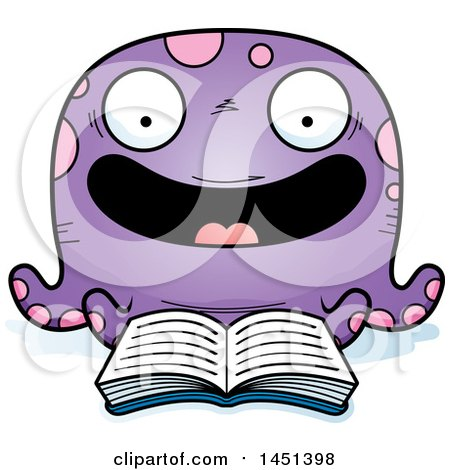 Clipart Graphic of a Cartoon Reading Octopus Character Mascot - Royalty Free Vector Illustration by Cory Thoman