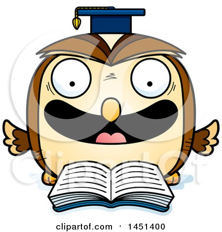 Clipart Graphic of a Cartoon Reading Graduate Owl Character Mascot - Royalty Free Vector Illustration by Cory Thoman