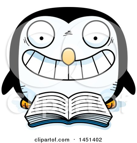 Clipart Graphic of a Cartoon Reading Penguin Character Mascot - Royalty Free Vector Illustration by Cory Thoman
