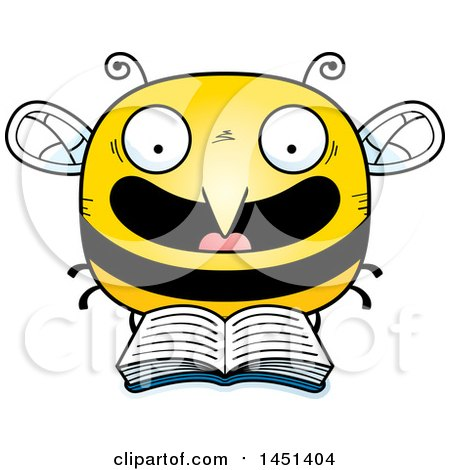 Clipart Graphic of a Cartoon Reading Bee Character Mascot - Royalty Free Vector Illustration by Cory Thoman