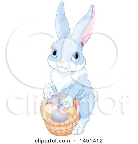 Clipart Graphic of a Cute Bunny Rabbit with a Basket of Easter Eggs - Royalty Free Vector Illustration by Pushkin