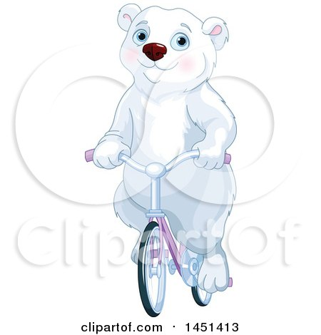 Clipart Graphic of a Cute Polar Bear Riding a Bicycle - Royalty Free Vector Illustration by Pushkin