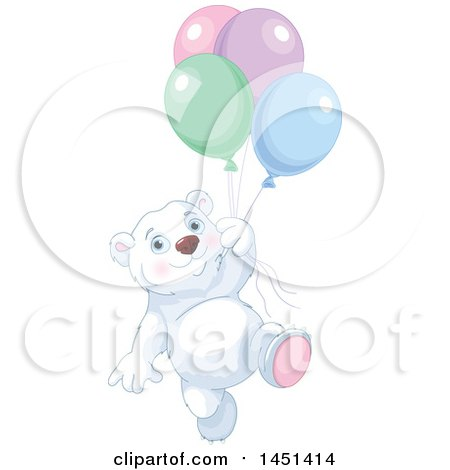 Clipart Graphic of a Cute Polar Bear Floating with Party Balloons - Royalty Free Vector Illustration by Pushkin