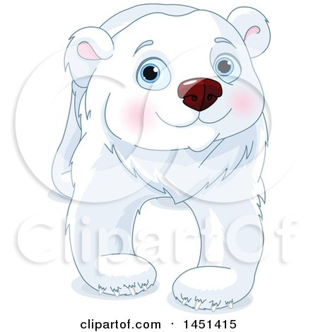 Clipart Graphic of a Cute Polar Bear Walking - Royalty Free Vector Illustration by Pushkin