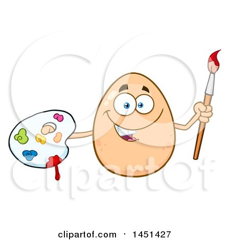 Cartoon Egg Mascot Character Holding a Paintbrush and Palette Posters, Art Prints