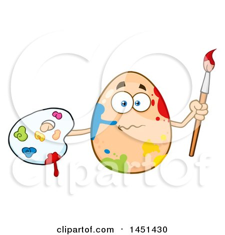 Cartoon Egg Mascot Character Splattered with Paint, Holding a Paintbrush and Palette Posters, Art Prints