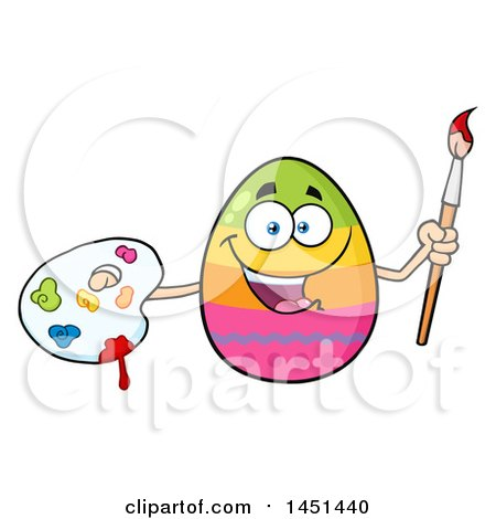 Cartoon Decorated Easter Egg Mascot Character Holding a Paintbrush and Palette Posters, Art Prints