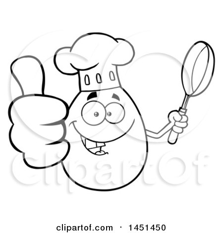 Clipart Graphic of a Cartoon Black and White Lineart Egg Chef Mascot Character Holding a Frying Pan and Giving a Thumb up - Royalty Free Vector Illustration by Hit Toon