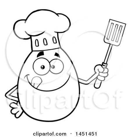 Clipart Graphic Of A Cartoon Black And White Lineart Egg Chef Mascot