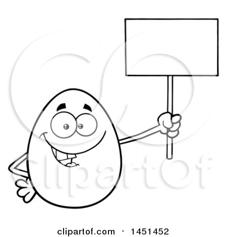 Clipart Graphic of a Cartoon Black and White Lineart Egg Mascot Character Holding a Blank Sign - Royalty Free Vector Illustration by Hit Toon